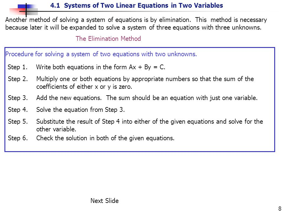 4.1 Systems of Two Linear Equations in Two Variables 9 Solution: Example 5.