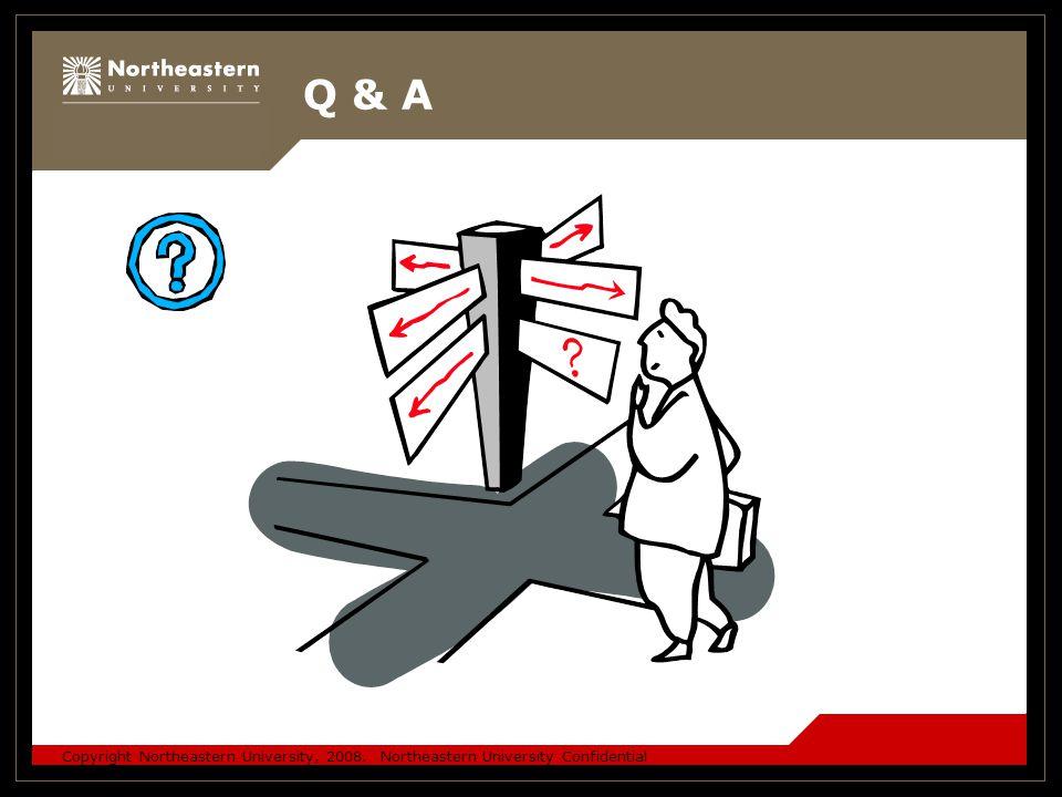 Copyright Northeastern University, 2008. Northeastern University Confidential Q & A
