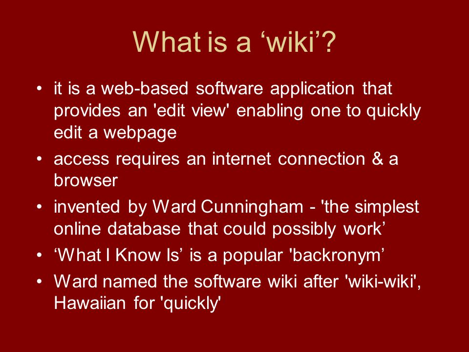 What is a 'wiki'.