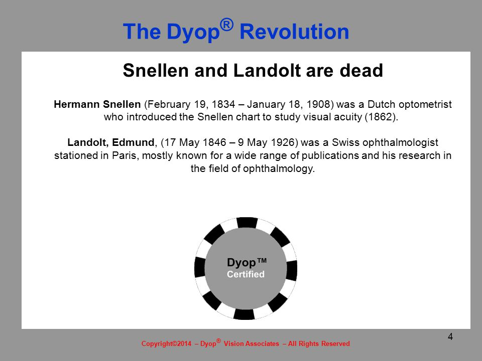 4 Snellen and Landolt are dead Hermann Snellen (February 19, 1834 – January 18, 1908) was a Dutch optometrist who introduced the Snellen chart to study visual acuity (1862).
