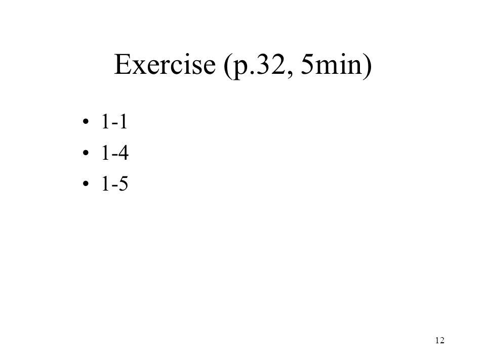 12 Exercise (p.32, 5min) 1-1 1-4 1-5