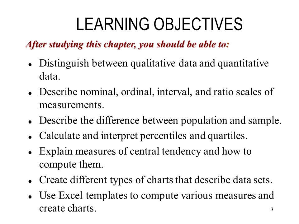 3 Distinguish between qualitative data and quantitative data.