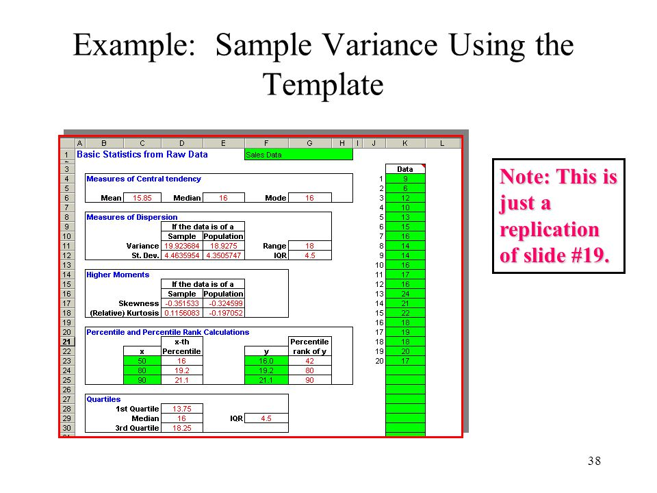 38 Example: Sample Variance Using the Template Note: This is just a replication of slide #19.