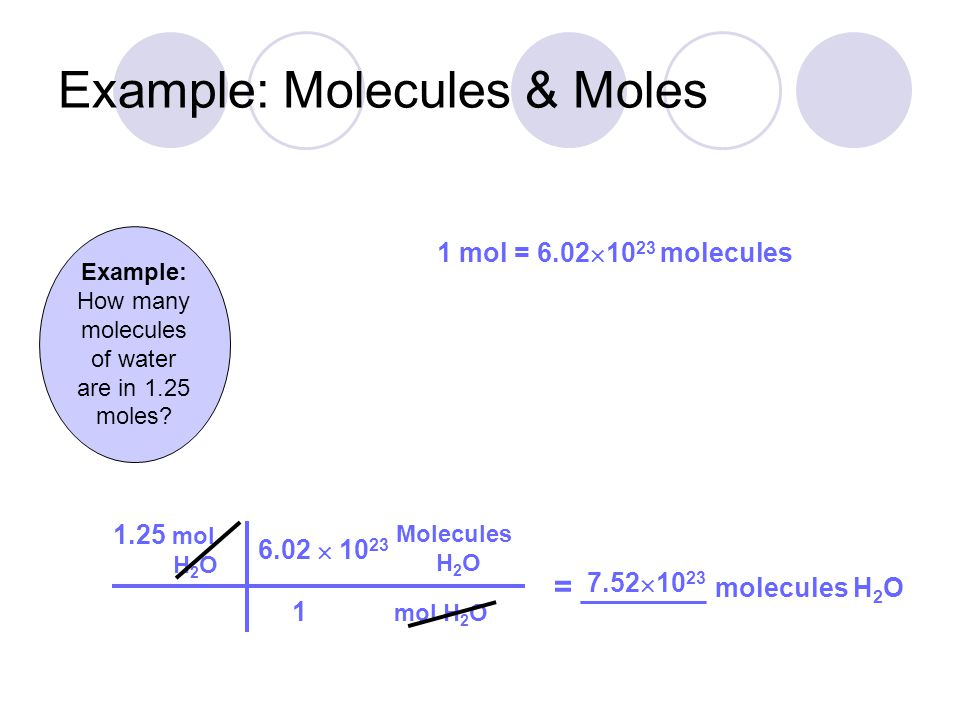 25.5 g NaCl Example: Grams to Molecules = _________ molecules NaCl g NaCl mol NaCl 1 58.44 2.63  10 23 1 mol = 6.02  10 23 molecules 1 moles NaCl molecules = 58.44 g Na Cl 1 1 22.99 g/mole 35.45 g/mole  = 22.99 g/mole = 35.45 g/mole + 58.44 g/mole  mol NaCl molecules NaCl 6.02  10 23 1 Example: How many molecules are in 25.5 g NaCl?