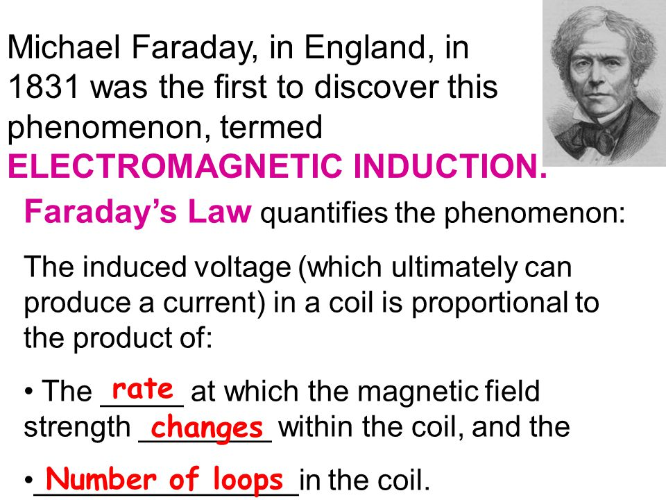Michael Faraday, in England, in 1831 was the first to discover this phenomenon, termed ELECTROMAGNETIC INDUCTION.
