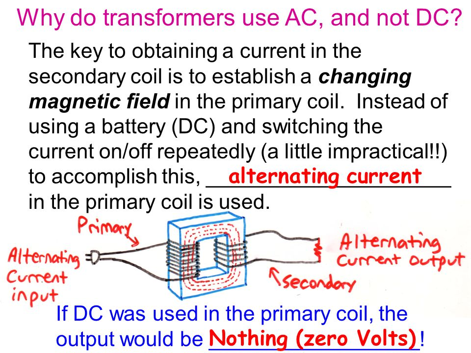 The key to obtaining a current in the secondary coil is to establish a changing magnetic field in the primary coil.