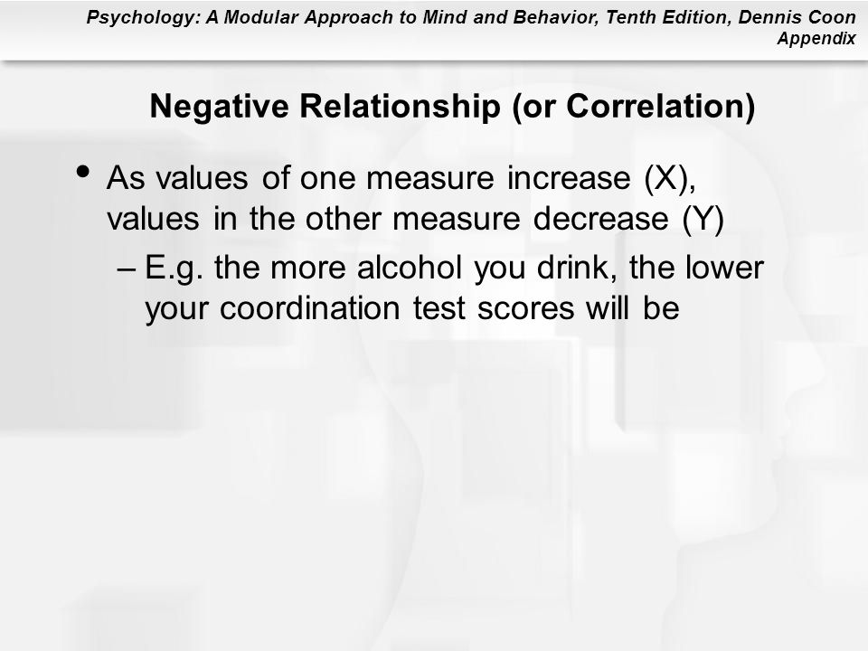 Psychology: A Modular Approach to Mind and Behavior, Tenth Edition, Dennis Coon Appendix Negative Relationship (or Correlation) As values of one measure increase (X), values in the other measure decrease (Y) –E.g.
