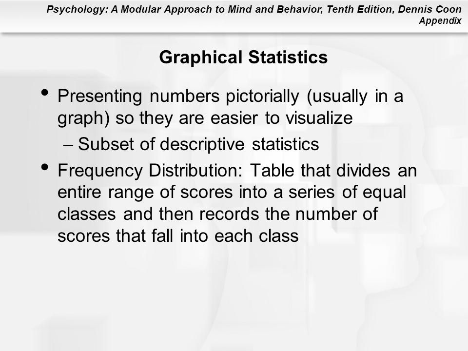 Psychology: A Modular Approach to Mind and Behavior, Tenth Edition, Dennis Coon Appendix Graphical Statistics Presenting numbers pictorially (usually in a graph) so they are easier to visualize –Subset of descriptive statistics Frequency Distribution: Table that divides an entire range of scores into a series of equal classes and then records the number of scores that fall into each class