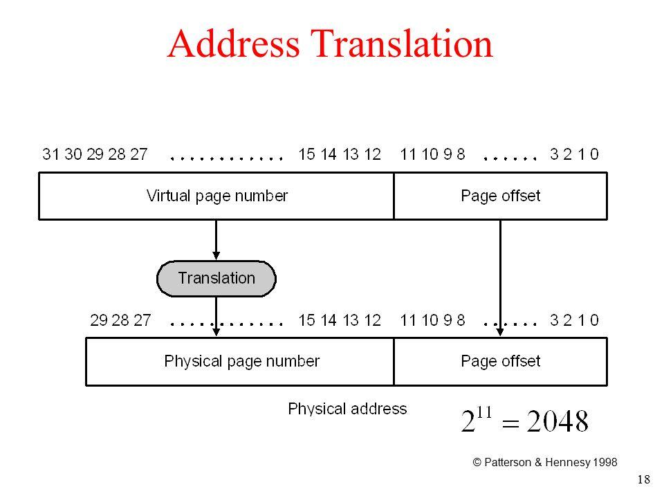 18 Address Translation © Patterson & Hennesy 1998