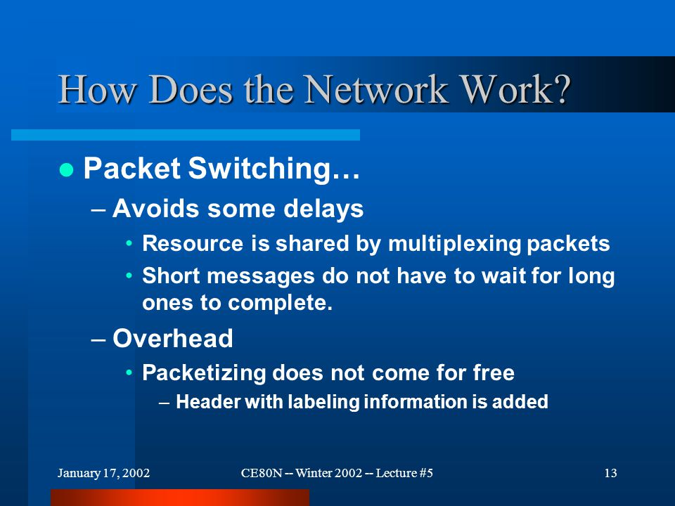 January 17, 2002CE80N -- Winter 2002 -- Lecture #513 How Does the Network Work? Packet Switching… –Avoids some delays Resource is shared by multiplexi