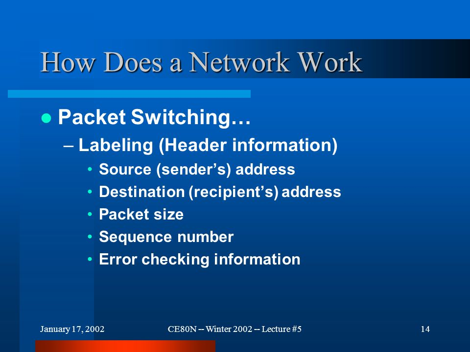 January 17, 2002CE80N -- Winter 2002 -- Lecture #514 How Does a Network Work Packet Switching… –Labeling (Header information) Source (sender's) addres