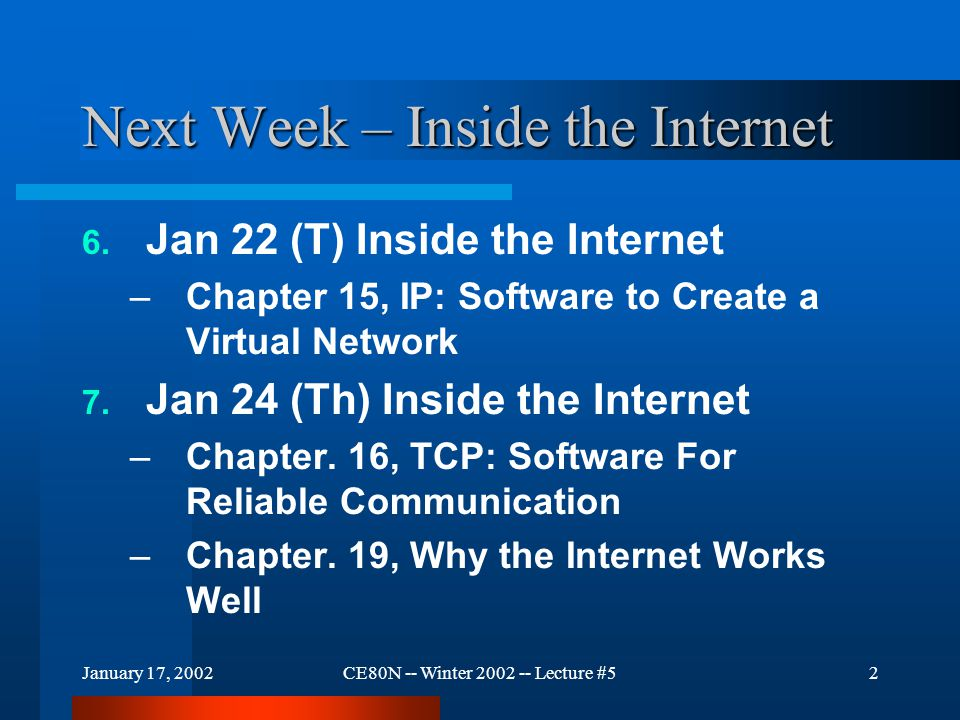 January 17, 2002CE80N -- Winter 2002 -- Lecture #52 Next Week – Inside the Internet 6. Jan 22 (T) Inside the Internet –Chapter 15, IP: Software to Cre