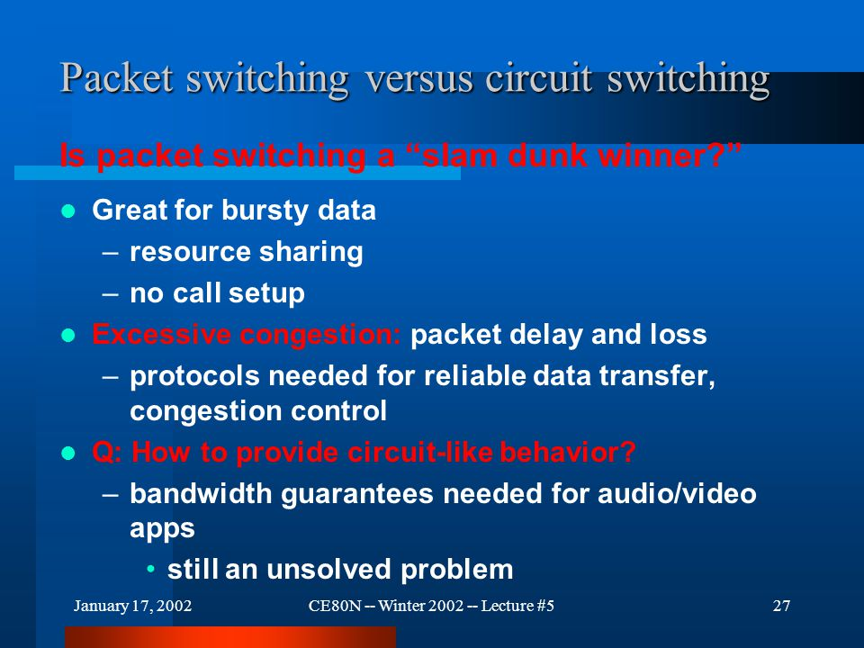 January 17, 2002CE80N -- Winter 2002 -- Lecture #527 Packet switching versus circuit switching Great for bursty data –resource sharing –no call setup