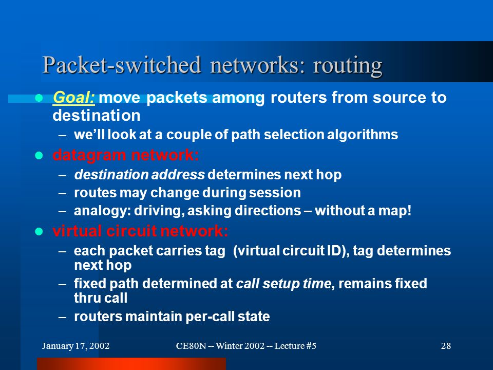 January 17, 2002CE80N -- Winter 2002 -- Lecture #528 Packet-switched networks: routing Goal: move packets among routers from source to destination –we