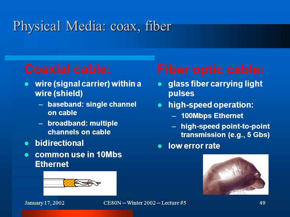 January 17, 2002CE80N -- Winter 2002 -- Lecture #549 Physical Media: coax, fiber Coaxial cable: wire (signal carrier) within a wire (shield) –baseband