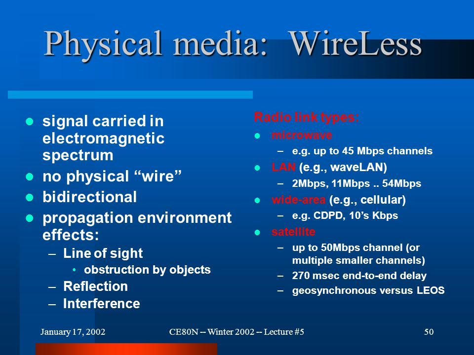 "January 17, 2002CE80N -- Winter 2002 -- Lecture #550 Physical media: WireLess signal carried in electromagnetic spectrum no physical ""wire"" bidirectio"