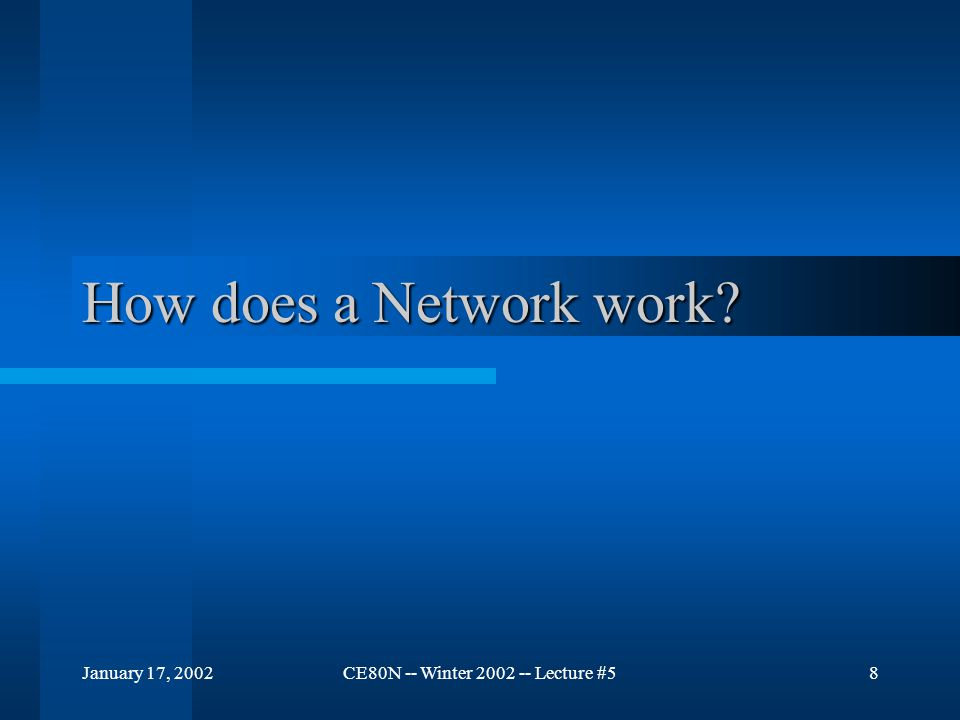 January 17, 2002CE80N -- Winter 2002 -- Lecture #58 How does a Network work?