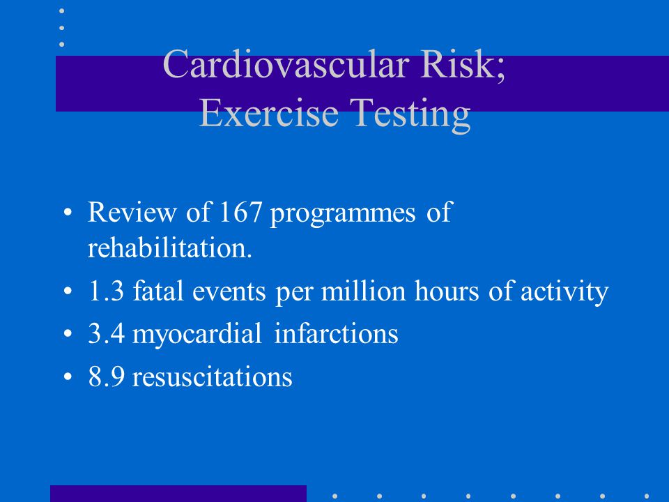 Cardiovascular Risk; Exercise Testing Review of 167 programmes of rehabilitation.