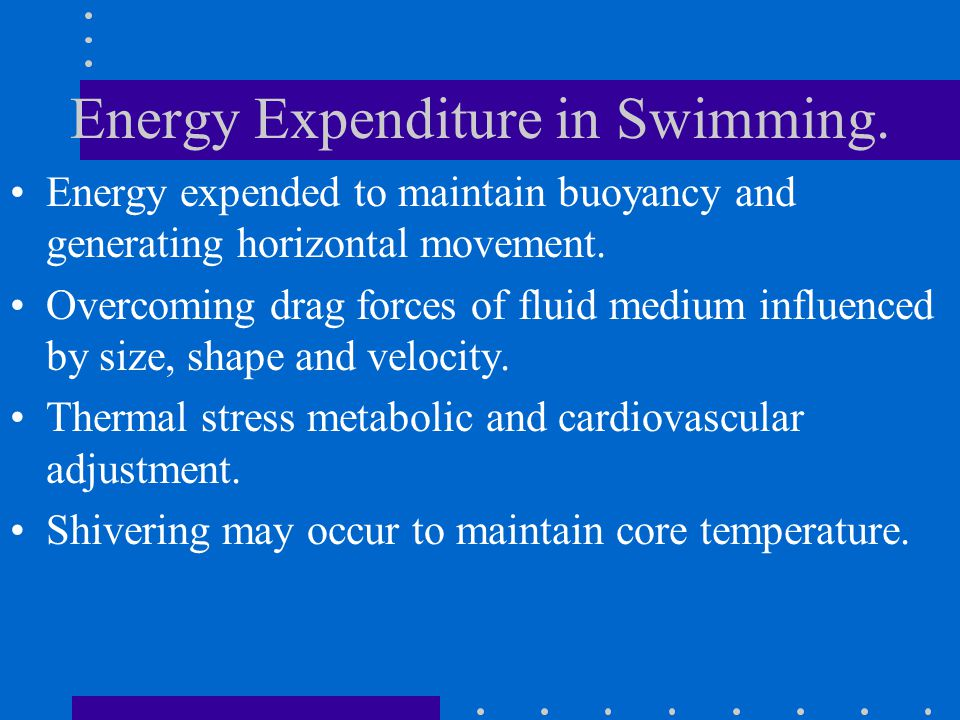 Energy Expenditure in Swimming.