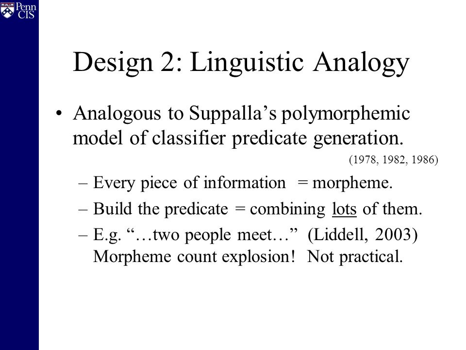 Design 2: Linguistic Analogy Analogous to Suppalla's polymorphemic model of classifier predicate generation.