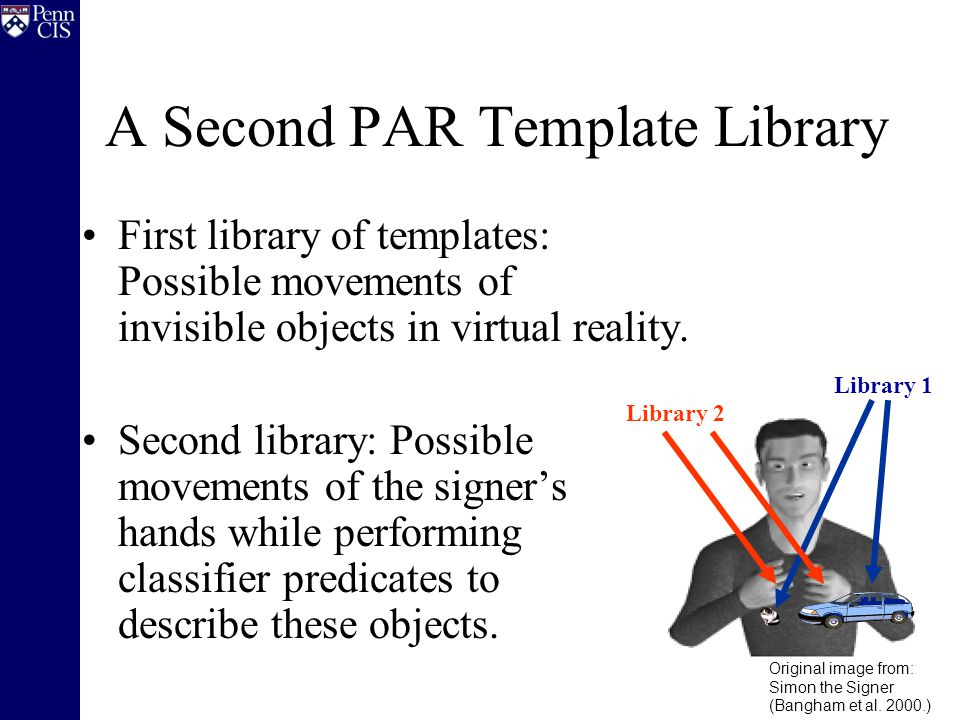 A Second PAR Template Library First library of templates: Possible movements of invisible objects in virtual reality.