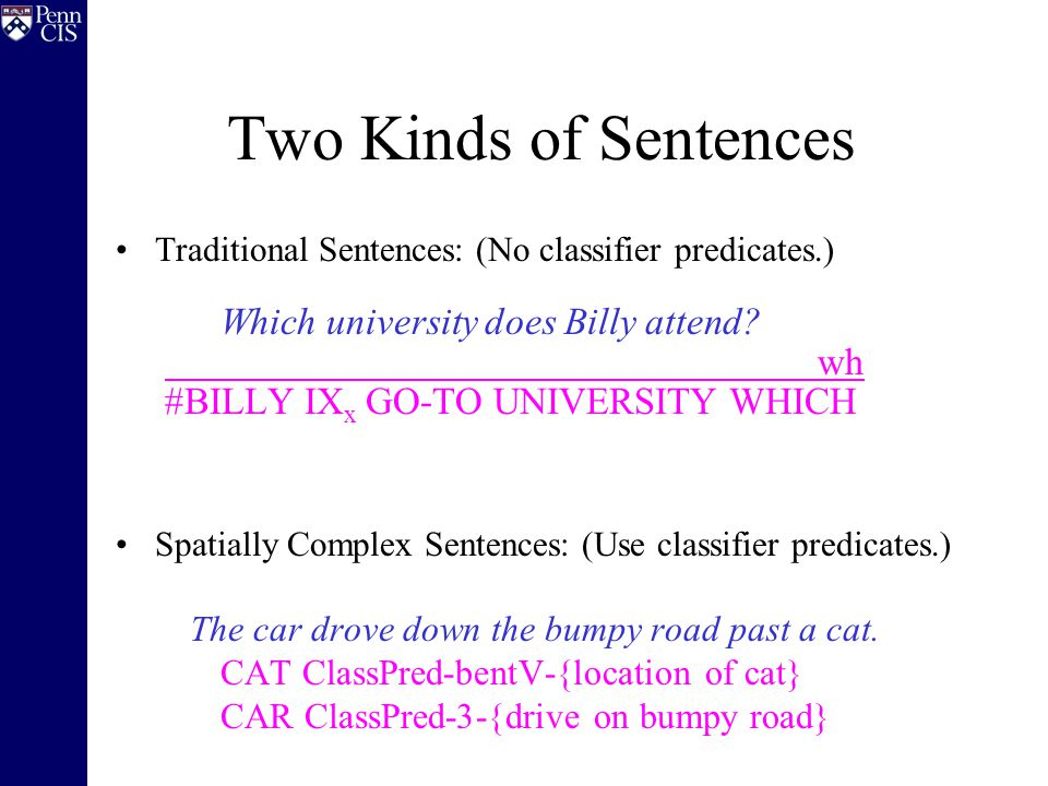 Two Kinds of Sentences Traditional Sentences: (No classifier predicates.) Which university does Billy attend.