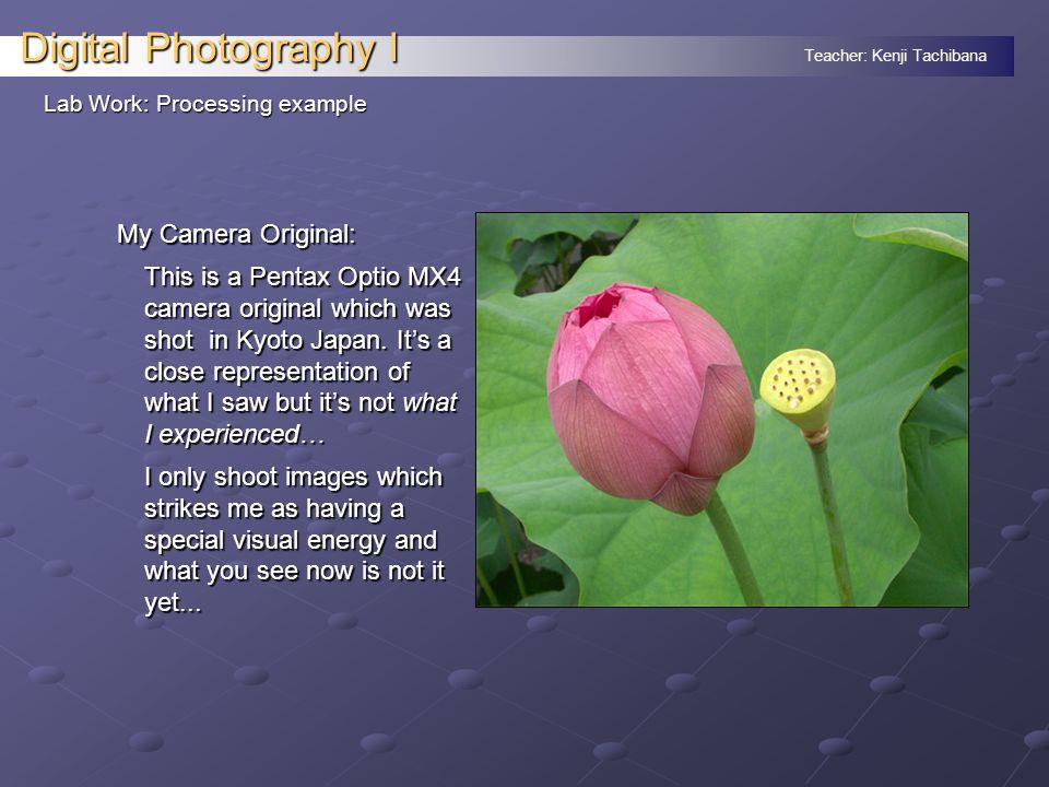 Teacher: Kenji Tachibana Digital Photography I Lab Work: Processing example My Camera Original: This is a Pentax Optio MX4 camera original which was shot in Kyoto Japan.
