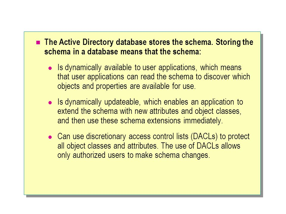 The Active Directory database stores the schema.