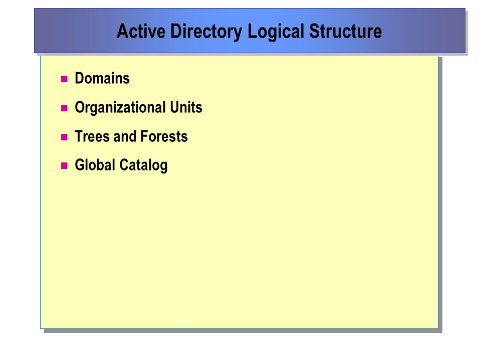 Domains Organizational Units Trees and Forests Global Catalog Active Directory Logical Structure