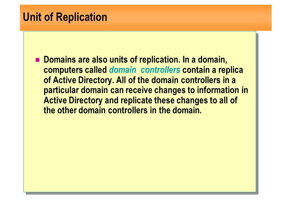 Unit of Replication Domains are also units of replication.