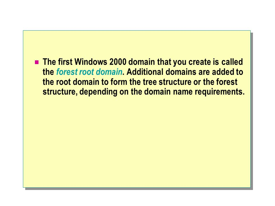 The first Windows 2000 domain that you create is called the forest root domain.