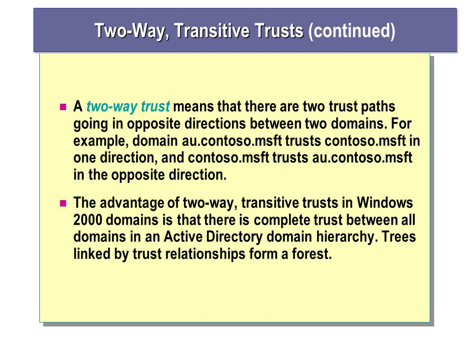 A two-way trust means that there are two trust paths going in opposite directions between two domains.