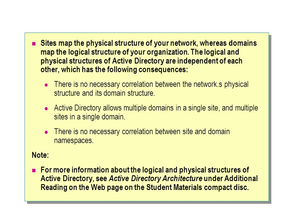 Sites map the physical structure of your network, whereas domains map the logical structure of your organization.