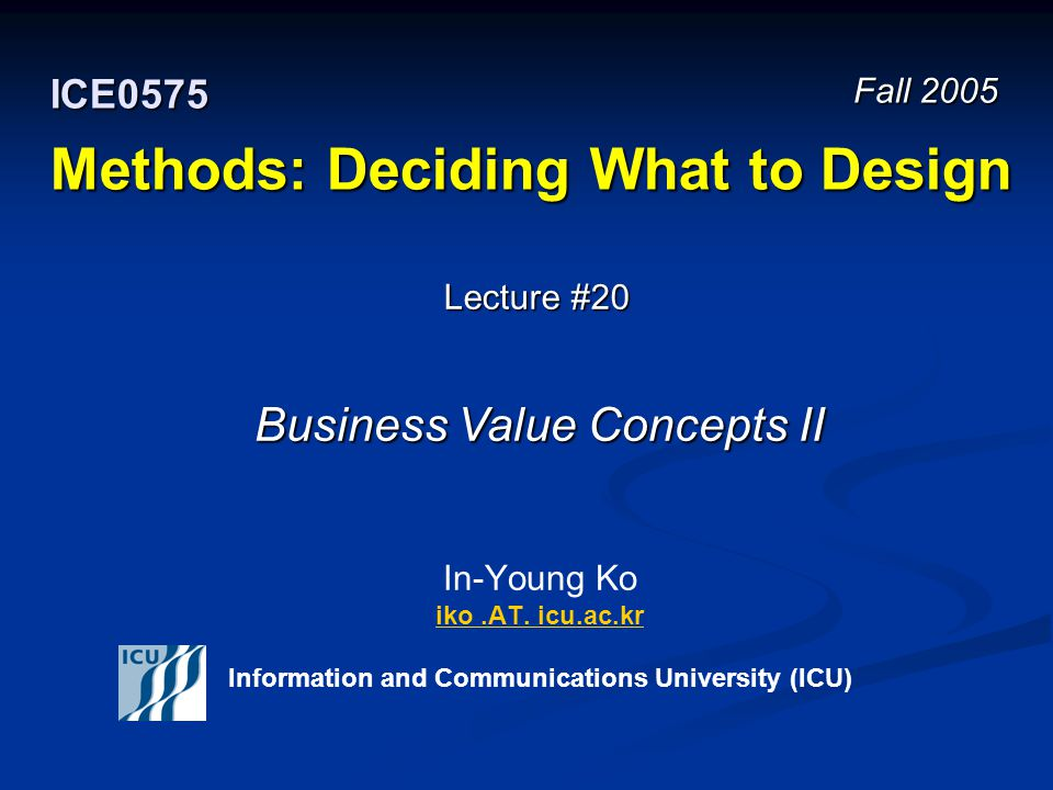 Fall 2005 22 ICE 0575 – Methods: Deciding What to Design © In-Young Ko, Information and Communications University Design Spaces Identify independent design decisions Identify independent design decisions Treat them as orthogonal axes in N-space Treat them as orthogonal axes in N-space Design can be viewed as searching this space Design can be viewed as searching this space Design methods should take you to parts of the space where reasonable solutions are denser Design methods should take you to parts of the space where reasonable solutions are denser The content of this slide is adopted from the lecture materials of the Methods course (17-652) at Carnegie Mellon University.