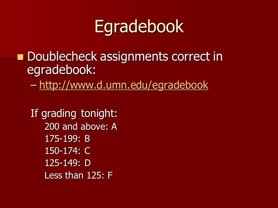 Egradebook Doublecheck assignments correct in egradebook: Doublecheck assignments correct in egradebook: –http://www.d.umn.edu/egradebook http://www.d