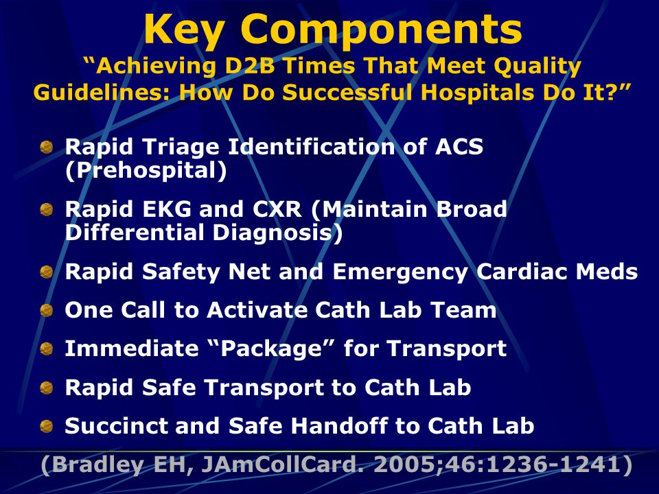 "Key Components ""Achieving D2B Times That Meet Quality Guidelines: How Do Successful Hospitals Do It?"" Rapid Triage Identification of ACS (Prehospital)"