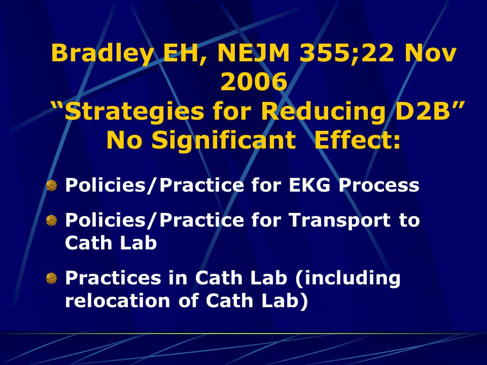 "Bradley EH, NEJM 355;22 Nov 2006 ""Strategies for Reducing D2B"" No Significant Effect: Policies/Practice for EKG Process Policies/Practice for Transpor"