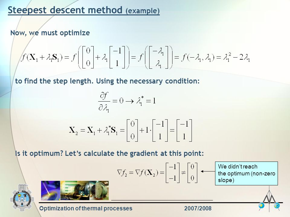 Optimization of thermal processes2007/2008 Steepest descent method (example) Now, we must optimize to find the step length. Using the necessary condit