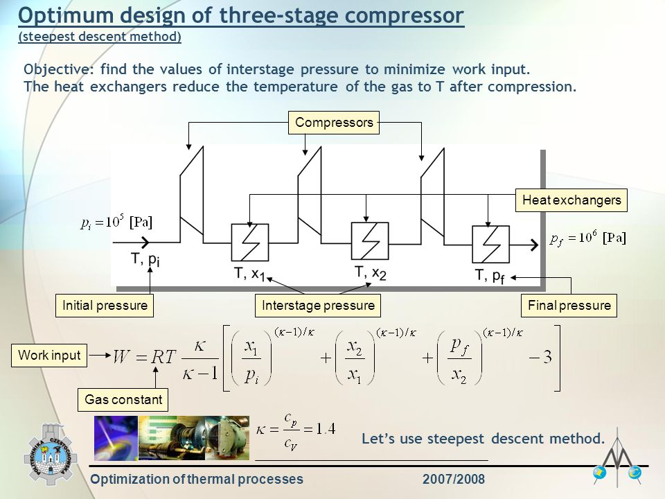 Optimization of thermal processes2007/2008 Optimum design of three-stage compressor (steepest descent method) CompressorsHeat exchangers Interstage pr