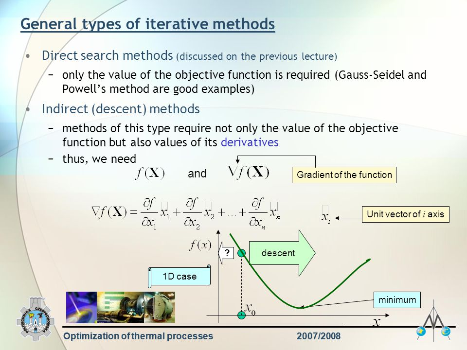 Optimization of thermal processes2007/2008 General types of iterative methods Direct search methods (discussed on the previous lecture) −only the valu