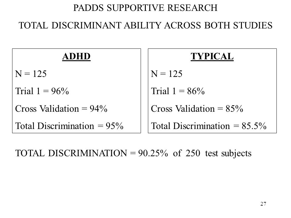 26 PADDS SUPPORTIVE RESEARCH FOR CROSS VALIDATION SAMPLE ADHD N = 63 Correctly ID = 59.22 Missed = 3.7 Total Discrimination = 94% TYPICAL N = 62 Correctly ID = 52.7 Missed = 9.3 Total Discrimination = 89.5% TOTAL DISCRIMINANT ABILITY = 89.5%