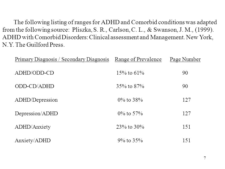 6 Diagnostic Challenges/Comorbidity with ADHD Other Comorbid conditions often occur with ADHD. These conditions may include but are not limited to Moo