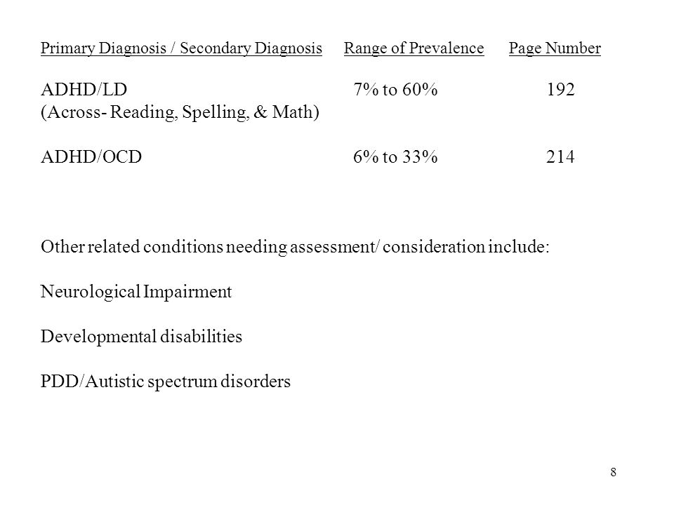 8 Primary Diagnosis / Secondary DiagnosisRange of Prevalence Page Number ADHD/LD 7% to 60%192 (Across- Reading, Spelling, & Math) ADHD/OCD 6% to 33%214 Other related conditions needing assessment/ consideration include: Neurological Impairment Developmental disabilities PDD/Autistic spectrum disorders