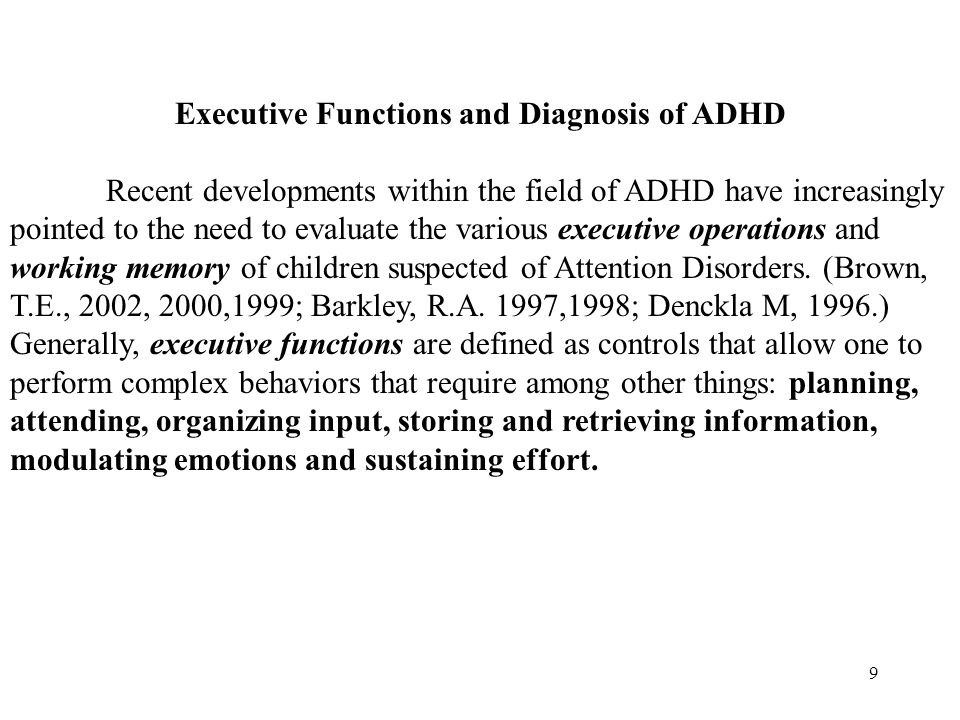 19 Cognitive Tests Executive Functioning