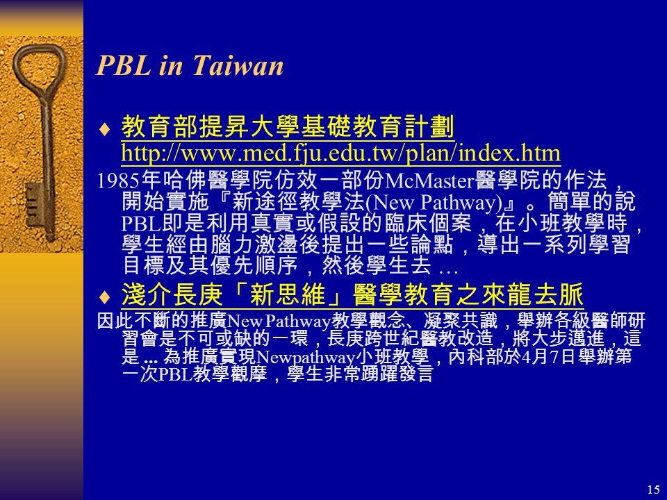 15 PBL in Taiwan  教育部提昇大學基礎教育計劃 http://www.med.fju.edu.tw/plan/index.htm 教育部提昇大學基礎教育計劃 http://www.med.fju.edu.tw/plan/index.htm 1985 年哈佛醫學院仿效一部份 McMaster 醫學院的作法, 開始實施『新途徑教學法 (New Pathway) 』。簡單的說 PBL 即是利用真實或假設的臨床個案,在小班教學時, 學生經由腦力激盪後提出一些論點,導出一系列學習 目標及其優先順序,然後學生去 …  淺介長庚「新思維」醫學教育之來龍去脈 淺介長庚「新思維」醫學教育之來龍去脈 因此不斷的推廣 New Pathway 教學觀念、凝聚共識,舉辦各級醫師研 習會是不可或缺的一環,長庚跨世紀醫教改造,將大步邁進,這 是...