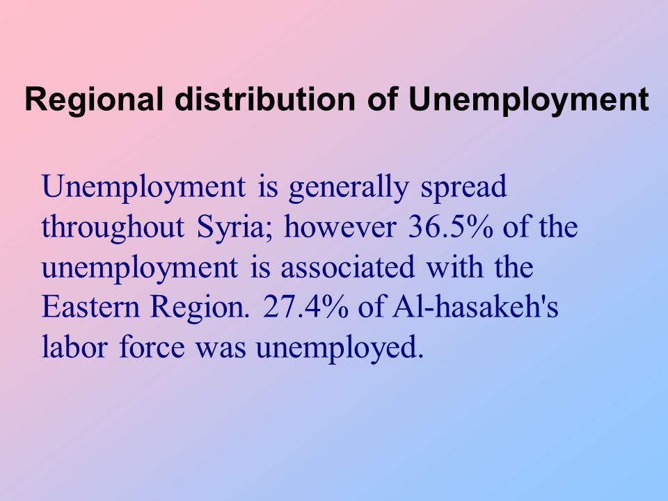 Regional distribution of Unemployment Unemployment is generally spread throughout Syria; however 36.5% of the unemployment is associated with the Eastern Region.