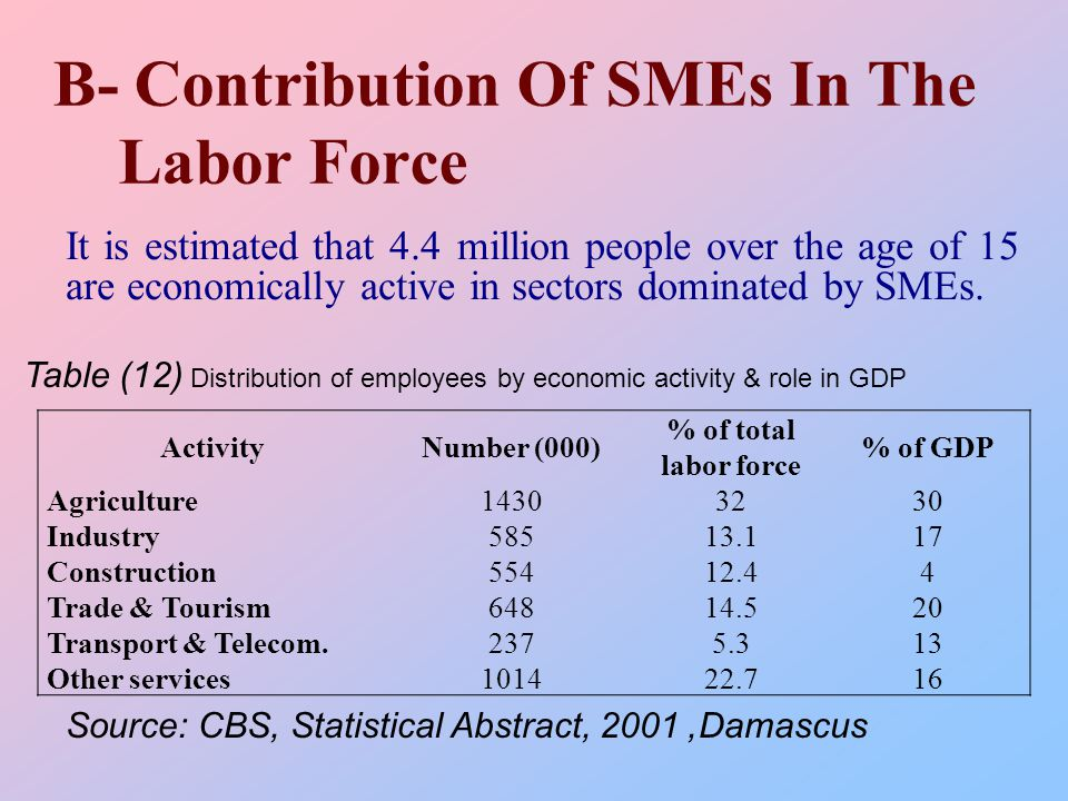 B- Contribution Of SMEs In The Labor Force It is estimated that 4.4 million people over the age of 15 are economically active in sectors dominated by SMEs.