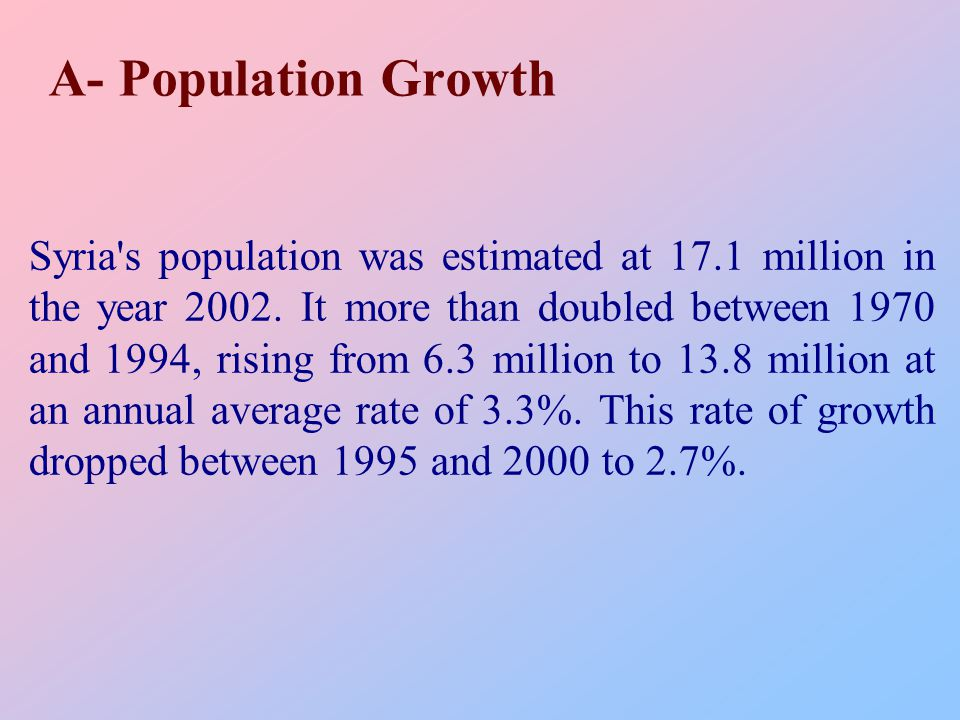A- Population Growth Syria s population was estimated at 17.1 million in the year 2002.