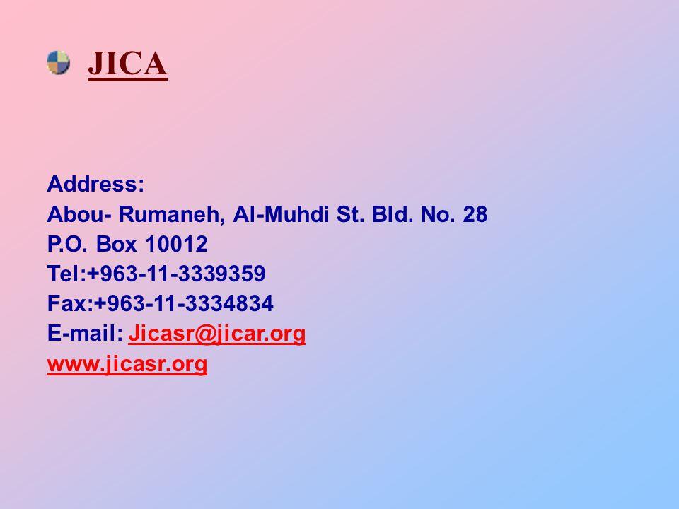 JICA Address: Abou- Rumaneh, Al-Muhdi St.Bld. No.