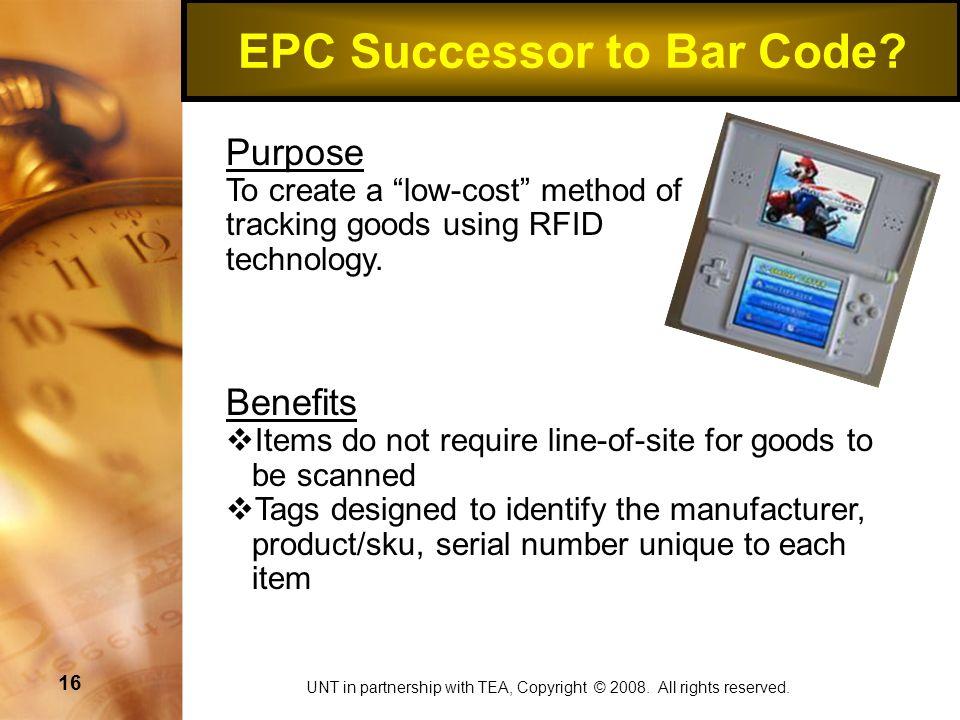 16 EPC Successor to Bar Code.